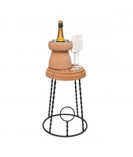 Sgabello in sughero e acciaio a forma di gabbietta Champagne