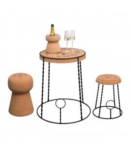 Tavolino rotondo in sughero e metallo Gabbietta