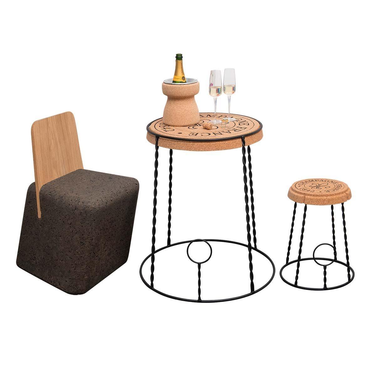 Tavolino Wine Bar Design In Sughero Forma Tappo Champagne Biosughero