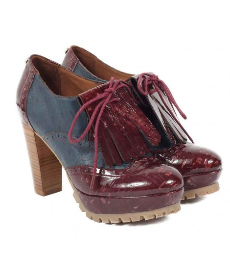 Scarpa donna in sughero con tacco Oxford High Hell / Blu-Burgundy