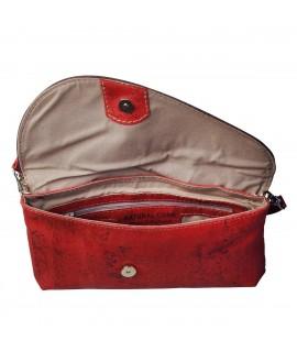 Borsa pochette in sughero di colore rosso Moura