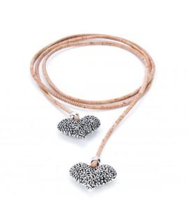 Collana in sughero con ciondoli a forma di cuore Paiva