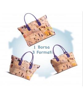 Borsa in sughero marrone e oro Faro