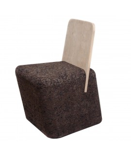 Sedia sgabello design in sughero bruno con schienale in legnoCut Chair