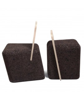 Sedute design in sughero bruno e schienale in legno Cut