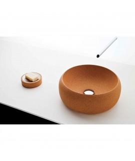 Lavandino design in sughero di forma rotonda
