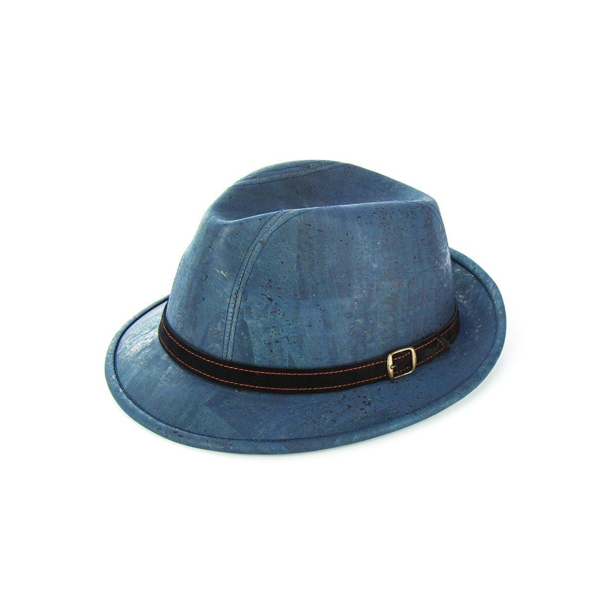 Cappello in sughero azzurro modello borsalino